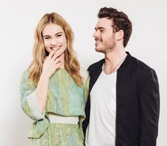 Lily James and Richard Madden during the Cinderella Portraits Session, 2015.