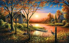 Original Oil Painting, Cabin Art, Sunset Landscape Art, Signed by Chuck Black Sunset Landscape, Landscape Art, Landscape Paintings, Canvas Art Prints, Fine Art Prints, Sunset Wallpaper, Puzzles, Autumn, Fall