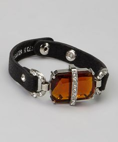 Black & Amber Crystal Leather Bracelet