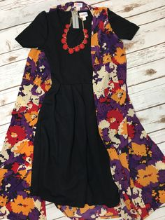 Lularoe outfit of the day! Black Amelia dress paired with a gorgeous floral joy, coverup and statement necklace! #ootd #lularoe #womensfashion