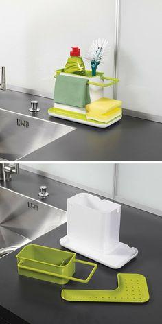 Un caddy de rangement pour les accessoires de la vaisselle à placer à côté de l'évier Kitchen Cabinet Organization, Kitchen Storage, Storage Organization, Kitchen Decor, Kitchen Cabinets, Quality Kitchens, Metal Furniture, Kitchen Gadgets, Kitchen Accessories