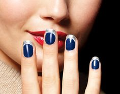 Navy nail, silver glitter French tip