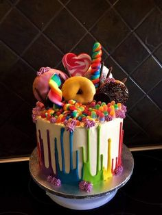 I tried out the upside down drip in rainbow colors, and I think it came out pretty cool! Cake Decorating Designs, Cool Cake Designs, Easy Cake Decorating, Cool Cake Ideas, Decorating Ideas, Candy Birthday Cakes, Beautiful Birthday Cakes, Sweetie Birthday Cake, Girly Birthday Cakes