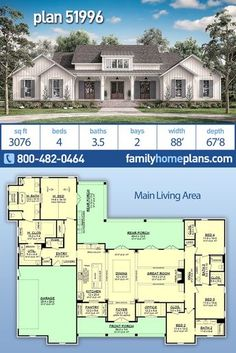 A NEW modern farmhouse house plan with 3076 square feet. A gorgeous 4-bedroom 3.5-bathroom home plan has a 2 car garage. Main living area features: large open floor plan in great room and formal dining room with wooden beams throughout. A gourmet kitchen with large central island and huge formal dining room has a pantry and office close by. Spacious master suite connected to laundry. Large covered porches with outdoor kitchen complete this home. Contemporary Farmhouse design. Family Home Plans Garage House Plans, Family House Plans, Craftsman House Plans, Country House Plans, House Floor Plans, Home And Family, Car Garage, Build House, Farmhouse Design