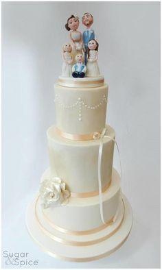 A 'Family Portrait' Wedding Cake by Sugargourmande Lou - http://cakesdecor.com/cakes/224037-a-family-portrait-wedding-cake