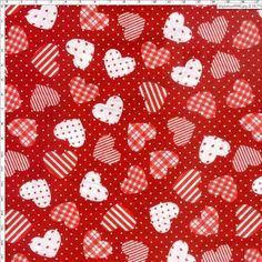 Tecido Estampado para Patchwork - Corações Vermelho 4795 Cor C (0,50x1,40)