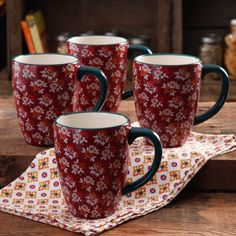 The Pioneer Woman Fall Flowers 26-Ounce Jumbo Latte Mug Set, 4-Pack - Walmart.com