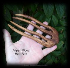 Aripari Wood Large Hair Fork, Dense Smooth Wood 5 inch Prong, 5 7/8 Total by CrockettMountainWood on Etsy