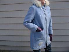 Vintage 1970's Blue Northern Wool Parka Fur Hood by TanteQVintage, $129.99