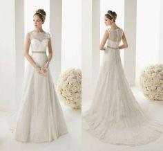 Elegant Lace A-line wedding dress Bridal Gown custom Size 2-4-6-8-10-12-14-16+++