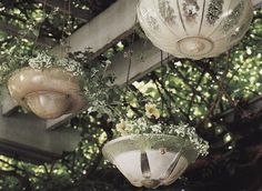 Do you like to upcycle, recycle or repurpose? What do you think of these glass lamps made into outdoor planters!