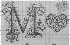 Giant Fancy Alphabet - M and heart Monogram Cross Stitch, Cross Stitch Alphabet Patterns, Embroidery Alphabet, Cross Stitch Love, Cross Stitch Charts, Cross Stitch Designs, Blackwork, Cross Stitching, Cross Stitch Embroidery