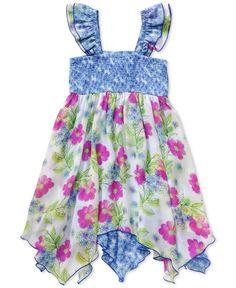 Sweet Heart Rose Little Girls' Smocked Floral Dress