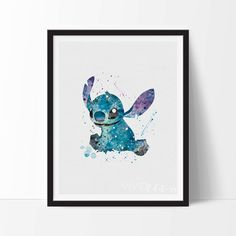 Stitch Print, Lilo and Stitch Watercolor Art, Nursery, Kids Bedroom Decor, Baby Room, Christmas Gift, Home Wall Art, Not Framed, No. 80