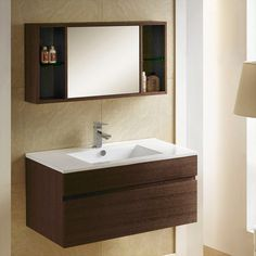 33 Dimitri Wall Hung Vanity Cabinet And Mirrored Storage Bathroom Sink