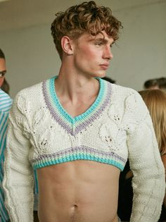 """fantasists: """"Tommy Marr by Piczo backstage at Sibling """" Sexy Queer Fashion, Androgynous Fashion, High Fashion, Mens Fashion, Androgynous Girls, Urban Fashion, Mode Masculine, Masculine Style, Mens Crop Top"""