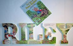 Made from wooden letters, a cut up Peter Rabbit book, decoupage, and a little paint on the edges... Super cute!