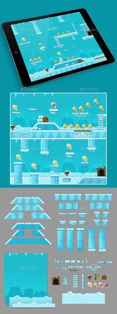2D Ice Game Platformer Tilesets — Vector EPS #tilesets #backgrounds • Available here → https://graphicriver.net/item/2d-ice-game-platformer-tilesets/15616181?ref=pxcr
