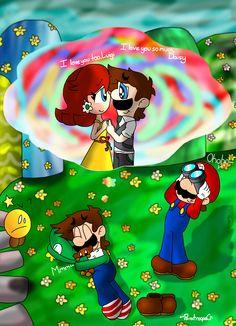 Dream Of Love by paratroopaCx on DeviantArt Super Mario Smash Bros, Mario Funny, Luigi And Daisy, Mario Comics, Mario Fan Art, Princesa Peach, Donkey Kong Country, Princess Daisy, Video Games Funny