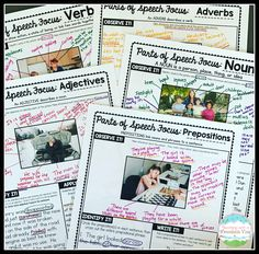 I absolutely love using pictures to teach critical reading skills. This set has students focusing on parts of Speech using pictures. It's a great way to work through these skills in an engaging and interesting way. Writing Curriculum, Writing Lessons, Teaching Writing, Writing Activities, Teaching Grammar, Teaching Spanish, Grammar Lessons, Art Lessons, 6th Grade Ela