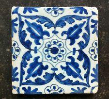 Antique Dutch Delft Tile Floral/Ornamental 17th C.