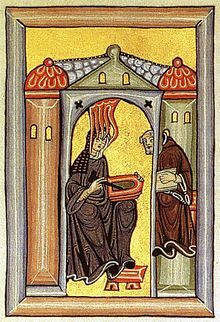 Illumination from the Liber Scivias showing Hildegard receiving a vision and dictating to her scribe and secretary