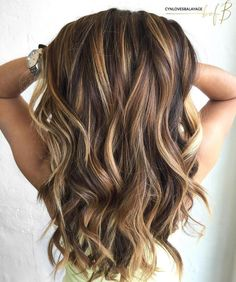 Long Brown Hair With Caramel Highlights #hairhighlights