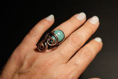 Copper Wire Ring Turquoise Ring Womens Ring by WIREREFLECTIONS