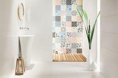 Płytka Tubądzin Unit Plus White Small Bathroom, Tiles, The Unit, Curtains, Architecture, Prints, Scrappy Quilts, Home, Traditional Tile
