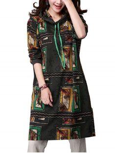 Women casual hooded color printing cotton linen dress  k9 coats #coats #5060e #mamp;s #coats #2015 #mamp;s #coats #sale #pet #e #coats