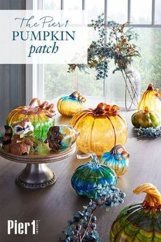Visit the Pier 1 Pumpkin Patch: With their lustrous gleam and pleasantly plump shapes, our handblown glass pumpkins look to have been harvested from their very own fairy-tale garden. Ripe for the picking in a dazzling array of sizes, shapes, fantasy colors and fantastic finishes, our pumpkins are ready to entice and enchant all season long.
