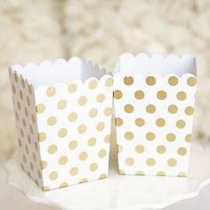 Gold and White Polka Dot Popcorn Favor Boxes Bridal Baby Shower to Pop Gold Foil