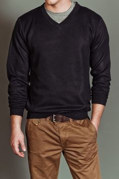 Charcoal V-Neck Sweater / Line 48