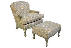 Louis XV-Style Chair w/ Ottoman on OneKingsLane.com