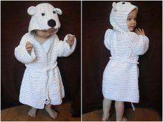 Top 5 zoo animal crochet patterns: polar bear bathrobe by peach unicorn
