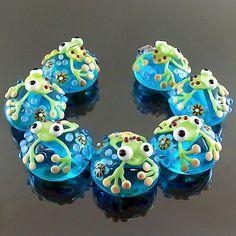 PIKALDA=handmade lampwork 7 glass beads flower blossom aqua=FROG DAY=SRA