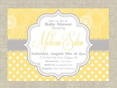 Sunshine Yellow & Gray Shabby Chic Baby Shower Invitation. DIY Printalbe Baby Shower or Birthday Invitation.. $10.00, via Etsy.