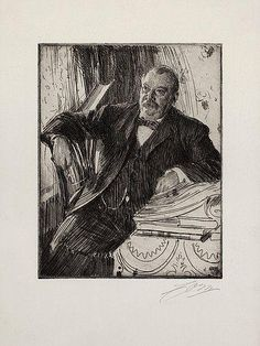 """Anders Zorn - """"Grover Cleveland II""""; Creation Date: 1899; Medium: Etching"""