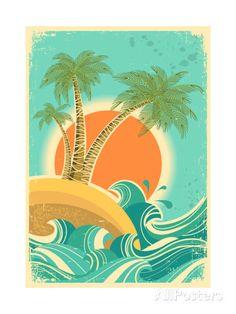Vintage Tropical Background With Sea Waves And Sun Posters van GeraKTV bij AllPosters. Surf Vintage, Vintage Hawaii, Vintage Travel, Art Soleil, Sun Prints, Nature Vector, Sun Art, Tropical Colors, Clip Art