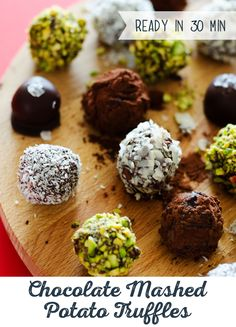 Chocolate Truffles with one big secret - they're made w ith scrumptious mashed potatoes! Transform your mashed potato leftovers into a sweet dessert by adding honey, cocoa powder, vanilla and, of course, dark chocolate!