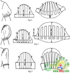 pattern drafting, sleeves;  find it also here: http://diy-projectcrazy.blogspot.jp/2012/04/make-puff-sleeve-pattern.html