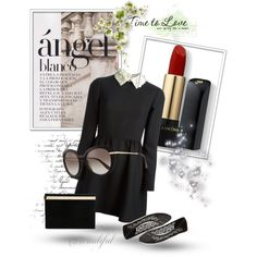 Fall to Black by revinaangela on Polyvore featuring Valentino, Wet Seal, Charlotte Olympia, Salvatore Ferragamo, Lancôme, longsleevedress and fall2015