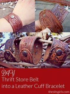 How to make a cool leather cuff bracelet out of belts you can buy cheaply at the thrift store, or you can repurpose a belt you are no longer using. DIY Tutorial. #handmadebeltsdiy