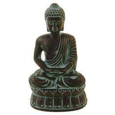 "Ceramic sitting Buddha sculpture.   Product: SculptureConstruction Material: Ceramic Color: Black and dark blueFeatures: Buddha designDimensions: 12"" H x 7"" W x 5"" D"