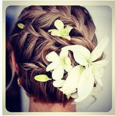 french braided bun with flowers