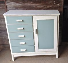 $195. Antique, Vintage, Shabby Chic, Duck Egg Blue and White Child's Wardrobe/Hutch