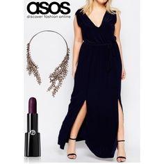 Vestido de Club L Plus de ASOS. Talla: 44. Color: Azul Marino.