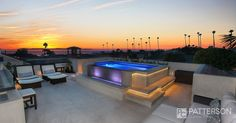 There's a bit of mood lighting in this rooftop deck's hot tub. Very tastefully done!