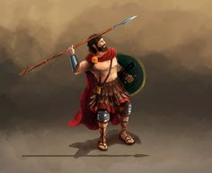 Warrior with spear, character design