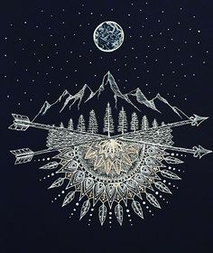 Moon And Stars Night Sky Mountain Range Arrow Mandala Framed Art Print by Brilazar - Vector Black - Mandala Tattoo Design, Mandala Drawing, Half Mandala Tattoo, Mandala Painting, Stars At Night, Stars And Moon, Schrift Design, Tattoo Mond, Feather Tattoos